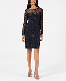 Petite Illusion-Embellished Dress