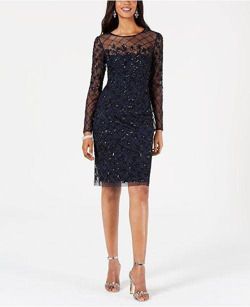 Adrianna Papell Embellished Illusion Sheath Dress