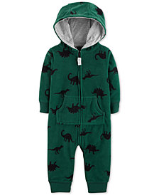 Carter's Baby Boys Hooded Dinosaur-Print Fleece Coverall