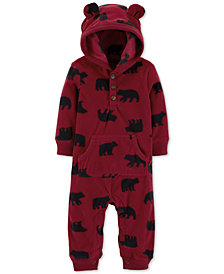Carter's Baby Boys 1-Pc. Bear-Print Hooded Coverall