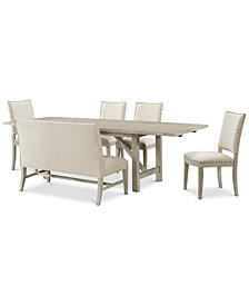 Parker Dining Furniture, 6-Pc. Set (Table, 4 Side Chairs & Bench), Created for Macy's