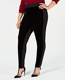 I.N.C. Plus Size Velvet & Stretch Leggings, Created for Macy's