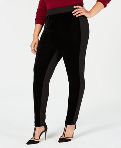 I.N.C. Shaping Plus Size Velvet & Stretch Leggings, Created for Macy's