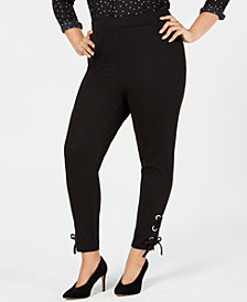 I.N.C. Plus Size Lace-Up Ankle Leggings, Created for Macy's
