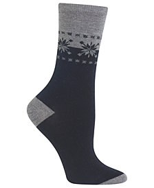 Hot Sox Women's Fair Isle Border Socks