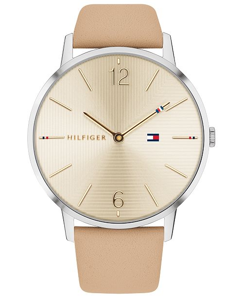 ... Tommy Hilfiger Women's Light Brown Leather Strap Watch 40mm, Created for Macy's ...