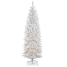 National Tree 6 .5' Kingswood White Fir Hinged Pencil Tree with 250 Clear Lights