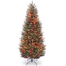 National Tree 7.5' Natural Fraser Slim Fir Hinged Tree with 600 Multi Lights
