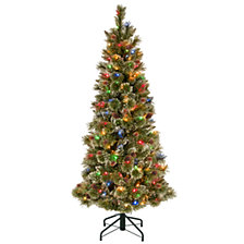 National Tree 5' Glistening Pine Pencil Slim Hinged Tree with Silver Glittered Cones & 150 Multi Lights