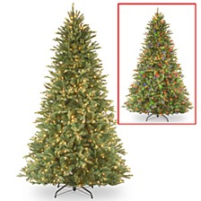 National Tree 7 .5'Feel Real Tiffany Fir Hinged Tree with 750 Dual Color LED Lights