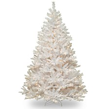 National Tree 7' Winchester White Pine Hinged Tree with Silver Glitter and 450 Clear Lights