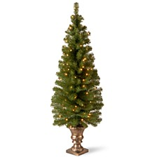 "5' Montclair Spruce Entrance Tree in 12"" Black/Gold Plastic Pot with 100 Clear Lights"