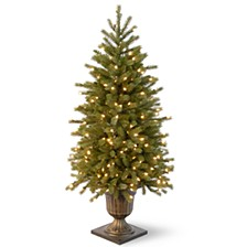 4' Poly Jersey Fraser Fir Entrance Tree in Dark Bronze Plastic Pot with 100 Clear Lights-UL