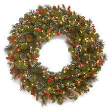 "National Tree Company 30"" Crestwood Spruce Wreath with Silver Bristle, 12 Cones, 12 Red Berries, Glitter and Battery Operated LED Lights with Timer"
