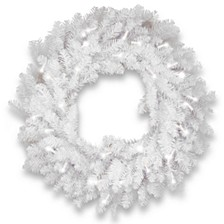 "30"" Dunhill®  White Fir Wreath with Clear Lights"