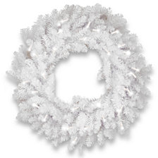 """National Tree Company 30"""" Dunhill®  White Fir Wreath with Clear Lights"""