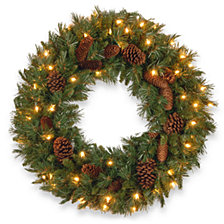 """National Tree Company 24"""" Pine Cone Wreath with 50 Clear Lights"""