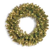 "National Tree Company 36"" ""Feel-Real"" Downswept Douglas Fir Wreath with 150 Warm White LED Lights"