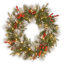 "National Tree Company 30"" Feel Real® Wintry Berry Collection Wreaths with Big Pine Cones, Red Berries & Snowy Bristle with 50 Warm White Battery Operated LED Lights w/Timer"