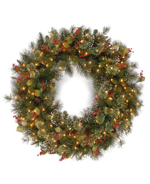 """National Tree Company 30"""" Wintry Pine Wreath with Cones, Red Berries, Snowflakes and 100 Clear Lights"""