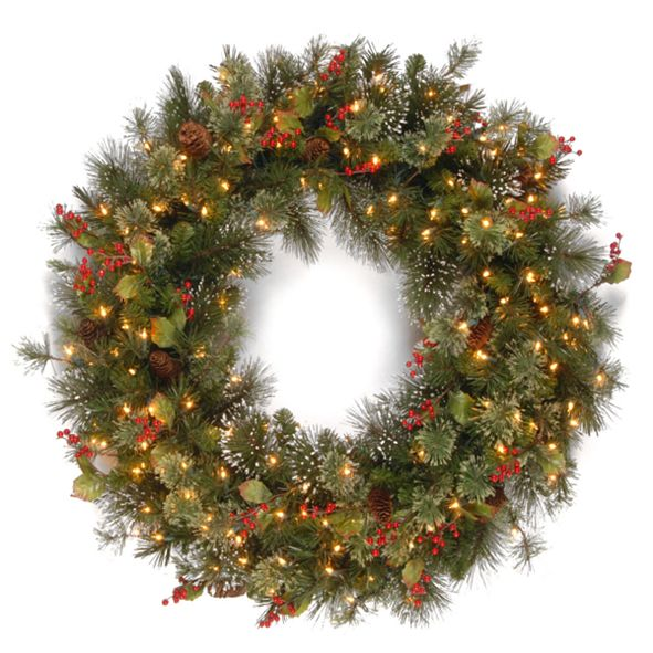 "National Tree Company 30"" Wintry Pine Wreath with Cones, Red Berries, Snowflakes and 100 Clear Lights"