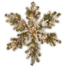 "National Tree Company 32"" Snow Capped Mountain Pine Snowflakes with Cones & 50 Warm White Battery Operated LED Lights w/Timer"