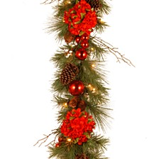 "National Tree 9' x 12"" Decorative Collection Hydrangea Garland with Cones, Red Berries and 50 Soft White Battery Operated LEDs with Timer"
