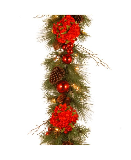 """National Tree Company National Tree 9' x 12"""" Decorative Collection Hydrangea Garland with Cones, Red Berries and 50 Soft White Battery Operated LEDs with Timer"""