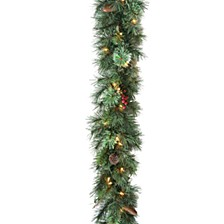 """9' x 10"""" Glisteing Pine Garland with Cones, Berries, & Twigs with 50 Clear Lights"""