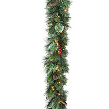 """National Tree Company 9' x 10"""" Glisteing Pine Garland with Cones, Berries, & Twigs with 50 Clear Lights"""