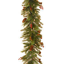 National Tree 6' Noelle Garland with 60 SoftWhite LED Battery Operated Lights