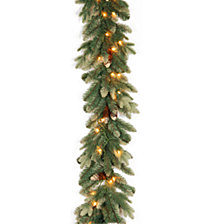 National Tree 9' Copenhagen Spruce Garland with Flocked Cones 50 Clear Lights