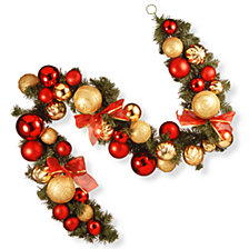 National Tree Company 6' Gold and Red Mixed Ornament Garland
