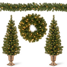 "National Tree Company Promotional Assortment- 2 x 4' Entrance Trees in Black /Gold Pot w/50 Clear Lts+24"" Wreath w/20 Warm White w/Caps Bat. Op.Lts+9'x8"" Garland w/50 Clear LightsL"