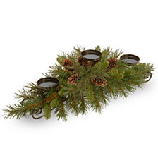 "National Tree Company 30"" Pine Cone Collection Centerpiece w/3 Candle Holders &6 Pine Cones"