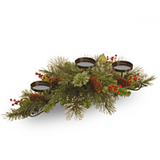 "National Tree Company 30"" Wintry Pine Collection Centerpiece w/3 Candle Holders with Cones, Red Berries & Snowflakes"