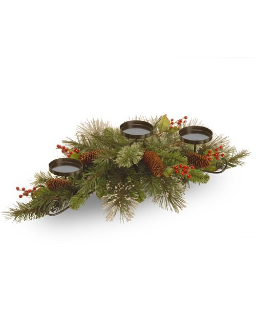 """National Tree Company 30"""" Wintry Pine Collection Centerpiece w/3 Candle Holders with Cones, Red Berries & Snowflakes"""