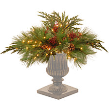 """National Tree Company 30"""" Decorative Collection White Pine Urn Filler with 135 Clear Lights"""