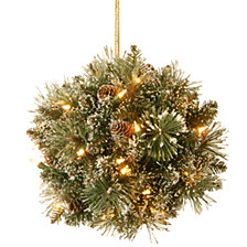 "National Tree 12"" Glittery Bristle Pine Kissing Ball with Pine Cones and 35 Warm White LED Battery Operated Lights with Timer"