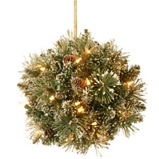 """National Tree 12"""" Glittery Bristle Pine Kissing Ball with Pine Cones and 35 Warm White LED Battery Operated Lights with Timer"""