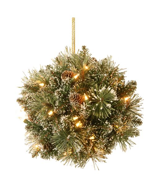 """National Tree Company National Tree 12"""" Glittery Bristle Pine Kissing Ball with Pine Cones and 35 Warm White LED Battery Operated Lights with Timer"""