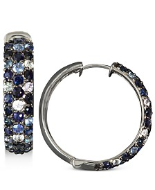 Saph Splash by EFFY® Multicolor Sapphire Large Hoop Earrings (4 ct. t.w.) in Sterling Silver