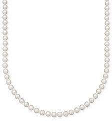 "Belle de Mer Pearl Necklace, 16"" 14k Gold A+ Cultured Freshwater Pearl Strand (7-1/2-8mm)"