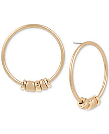 Robert Lee Morris Soho Large Gold-Tone Beaded Drop Hoop Earrings