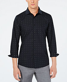 Tallia Men's Slim-Fit Black and Silver  Micro Dot Print Dress Shirt