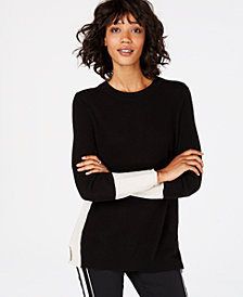 Charter Club Colorblocked Cashmere Sweater, Created for Macy's
