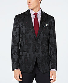 Tallia Men's Slim-Fit Black/Burgundy Floral Jacquard Dinner Jacket