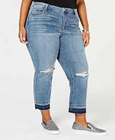 Celebrity Pink Trendy Plus Size Distressed Straight Jeans