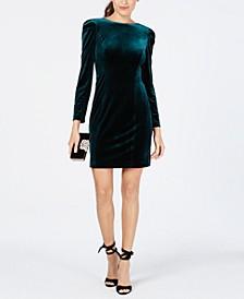 Velvet Puff-Sleeve Sheath Dress