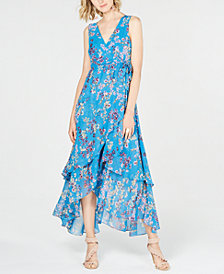 I.N.C. Petite Printed Tiered Wrap-Front Dress, Created for Macy's